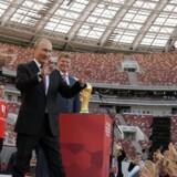 Ruslands præsident Vladimir Putin under en VM-ceremoni på det ombyggede Lusjniki-stadion i Moskva.