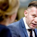 Ole Birk Olesen og Joachim B. Olsen taler med TV kort inden starten på Liberal Alliances landsmøde i Tivoli Hotel & Congress Center lørdag d. 7. april 2018. (Foto: Bax Lindhardt/ Scanpix 2018)