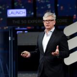 Ericssons topchef, Börje Ekholm, holder tale på Mobile World Congress i Barcelona i februar sidste år. Foto: Eric Gallard/Reuters