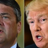 """(FILES) - (COMBO) This combination of file photos created on January 16, 2017 shows then US President-elect Donald Trump (R, January 9, 2017 in New York) and German Vice-Chancellor Sigmar Gabriel (May 24, 2016 in Meseberg). US President Donald Trump's actions have """"weakened"""" the West, Gabriel, now German Foreign Minister, said on May 29, 2017, while also charging that Trump's """"short-sighted"""" policies hurt EU interests. / AFP PHOTO / Timothy A. CLARY AND Tobias SCHWARZ"""