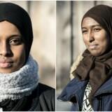 Berlingske har spurgt de to gymnasieelever 19-årige Ubah Dahir (tv.) og Sumaja Caawo Yussuf (th.), om de føler sig som danskere.