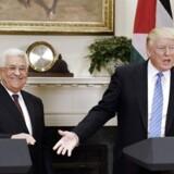 epa05942373 USAs præsident Donald Trump og den palæstinensiske præsident Mahmoud Abbas ved onsdagens pressekonference i Det Hvide Hus i Washington. 3. Maj 2017. EPA/Olivier Douliery / POOL