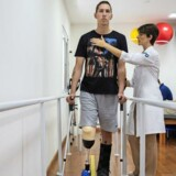Jackson Follman, formerly a reserve goalkeeper and one of the few survivors when a plane carrying his provincial Brazilian soccer team, Associacao Chapecoense de Futebol, crashed into a Colombian mountainside, during physiotherapy in Sao Paulo, Brazil, Feb. 9, 2017. The November crash happened as the team was flying to its first appearance in the final of the Copa Sudamerica, South America's second-biggest tournament. (Lalo de Almeida/The New York Times)
