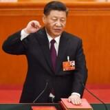 Kinas parlament har lørdag enstemmigt - og ganske som forventet - genvalgt Xi Jinping som landets præsident for en ny femårsperiode. / AFP PHOTO / Greg Baker