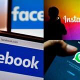 Facebook selv samt de Facebook-ejede WhatsApp og Instagram har ulovligt brugt teknologi, som andre ejer retten til, og det skal nu afregnes, lyder kravet. Arkivfoto: Loic Venance (tv.), Sascha Steinbach (øverst th.) og RIitchie B. Tongo, Scanpix Denmark.