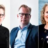 Socialdemokratiets Pernille Rosenkrantz-Theil (til venstre) og Dansk Folkepartis Karin Nødgaard (til højre) ønsker obligatorisk rådgivning vedrørende fælles børn for forældre, der vælger at blive skilt. Venstres Carl Holst (i midten) er lodret imod. Foto: Ida Guldbæk Arentsen, Mads Joakim Rimer Rasmussen og Bjarne Luthcke.