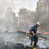 Sådan så der ud på Majdan-pladsen i kiev efter demonstrationer og uroligheder i 2014.