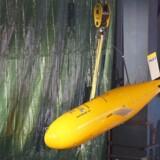 Den ubemandede ubåd Boaty McBoatface blev vist frem til en ceremoni i oktober 2016. REUTERS/Phil Noble