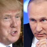 Ruslands præsident, Vladimir Putin, og USA's nye præsident, Donald Trump, ventes lørdag at holde deres første telefonmøde. Arkivfoto.