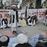 Demonstrationer i Pakistan efter Donald Trump beskyldte landet for løgn og bedrag - og for at skjule terrorister. EPA/JAMAL TARAQAI