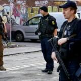Betjente skudt på Christiania 1. september 2016 i forbindelse emd en anholdelse. En betjent blev ramt i hovedet og blev hårdt såret, en civil blev også ramt. (Foto: Jens Astrup/Scanpix 2016)