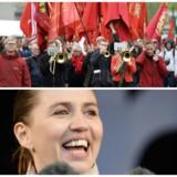 Mette Frederiksen (S) smilte stort, da hun tirsdag d. 1. maj holdt tale i Fælledparken. Men hun kan langt fra være sikker på at få arbejdernes opbakning, når de går til valg (FOTO: Mads Claus Rasmussen/Scanpix2018)