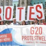 Demonstranterne er allerede på plads i Hamburg før G-20 mødet.