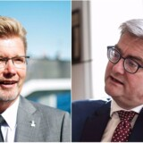 Uddannelses- og forskningsminister Søren Pind (V) (th.) retter hårde beskyldninger mod overborgmester Frank Jensen (S) i sagen om gratis udlån af lokaler til politikere på Københavns Rådhus.