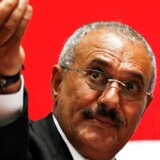 FILE PHOTO: Yemen's then President Ali Abdullah Saleh gestures during a gathering of supporters in Sanaa February 20, 2011. REUTERS/Khaled Abdullah/File Photo TPX IMAGES OF THE DAY