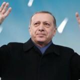 Den tyrkiske præsident Erdogan, hvis kontor telefonlinjen, som Berlingske ringede til i sidste uge, går til. Den tyrkiske ambassade i København afviser at man her kan angive Erdogan-kritikere. Den er kun målrettet terrorisme, oplyser de ifølge Udenrigsministeriet. Murat Cetinmuhurdar/Presidential Palace/Handout via REUTERS ATTENTION EDITORS.