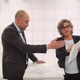 Tidligere transportminister, Magnus Heunicke (S), kommer op og skændes med DR-vært Mette Vibe Utzon under en udseendelse af programmet Detekter. FOTO: Screendump fra DRs Detektor.