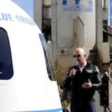 Amazon-topchef Jeff Bezos præsenterer planerne for de fremtidige rumrejser i Blue Origins rumkapsel. Foto: Isaiah J. Downing, Reuters/Scanpix