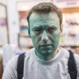 Den russiske præsidentkandidat blev i sidste uge overfaldet med et grønt farvestof. Nu siger lægerne, at han risikerer varige øjenskader. Foto: Navalny.com
