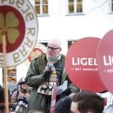 Offentligt ansatte demonstrerer i forbindelse med de igangværende overenskomstforhandlinger ud for Moderniseringsstyrelsen.