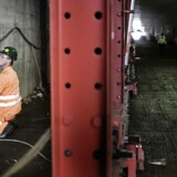 Polske håndværkere er i gang med at bygge Nordhavnstunnellen i nærheden af Svanemøllen.