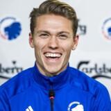 Viktor Fischer bliver præsenteret som ny spiller i FC København på et pressemøde i Telia Parken onsdag den 31. januar 2018.