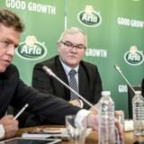 Arlas CEO Peder Tuborgh, bestyrelsesformand Åke Hantoft og CFO Natalie Knightom fortæller om årets koncernregnskab hos Arla på et pressemøde i København, , onsdag den 21. februar 2018.