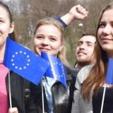 Håbefulde ukrainske studenter med vajende EU-flag dannede forud for den hollandske folkeafstemning om EUs handelsaftale med Ukraine kæde fra Hollands ambassade til Den Europæiske Plads i Kiev. Men lige meget hjalp det.