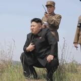 Den nordkoreanske leder Kim Jung Un tilbage i april 2014 under en øvelse.