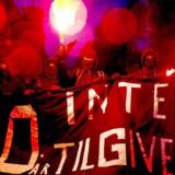 10-årsdagen for nedrivningen af Ungdomshuset på Jagtvej 69, blev onsdag d. 1. marts 2017 markeret med en stor demonstration igennem Københavns gader. (Foto: Bax Lindhardt/Scanpix 2017)