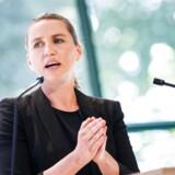 Mette Frederiksen, formand for Socialdemokraterne på talerstolen da Dansk Energi holder topmøde torsdag d. 9 juni 2016 i København. (Foto: Martin Sylvest/Scanpix 2016)