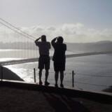 Arkivfoto af Golden Gate Bridge i San Francisco.