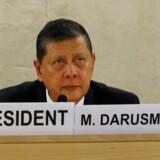 Marzuki Darusman står i spidsen for en fact-finding mission, der vil ind i Myanmar for at undersøge konflikten med rohingya-mindretallet. Myanmars FN-ambassadør, Lynn Htin, har dog tirsdag gentaget, at Myanmar ikke er interesseret i at lade FN-hold komme ind i landet. Reuters/Denis Balibouse