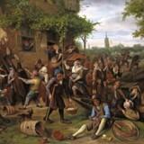 Det gik lystigt for sig, når det blev festet i Holland i 1600-tallet - som i dette maleri af Jan Steen fra 1673. Fra udstillingen i Mauritshuis i Haag.