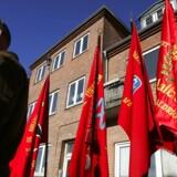 Repræsentanter for Byggefagenes Samvirke i Aalborg laver fysisk blokade mod polske håndværkere i 2005.