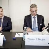Her ses Thomas Borgen og bestyrelsesformand Ole Andersen til pressemøde om Danske Banks håndtering af hvidvasksagen. Kort forinden mødet trak topchef Thomas Borgen sig fra posten.
