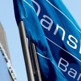 (ARKIV) Danske Banks flag ved den estiske filial i Tallin.