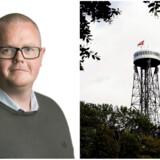 David Holt Olsen er museumsinspektør på Danmarks Industrimuseum. Til højre Aalborgtårnet.