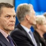 Ole Andersen, Danske Banks bestyrelsesformand, på pressemødet for nylig, hvor banken gennemgår hvidvask-skandalen, som nogle medier kalder verdens største sag af sin art. Bankens adm. direktør Thomas F. Borgen har valgt at forlade banken på grund af sagen.