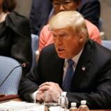 NEW YORK, NY - Den amerikanske præsident, Donald Trump, leder et møde i Sikkerhedsrådet og beskylder Kina for at stå bag hackning af det amerikanske midtvejsvalg. Spencer Platt/Getty Images/AFP == FOR NEWSPAPERS, INTERNET, TELCOS & TELEVISION USE ONLY ==