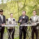Jens Joel, Mette Frederiksen, Dan Jørgensen og Christian Rabjerg Madsen ved et arrangement, hvor Socialdemokratiet præsenterer udspillet »Danmark skal igen være en grøn stormagt - en klima- og miljøpolitik der samler Danmark« 3. maj 2018.
