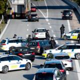 Sidste afkørsel inden Øresundsbroen lige ved Københavns Lufthavn. Øresundsbroen og meget andet lukket pga stor politiaktion fredag den 28. september 2018.