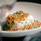 Bagt kulmule m. broccolini og bristefærdige orange lakserogn.