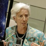 Med topchef Christine Lagarde i spidsen er Den Internationale Valutafond, IMF, blevet lidt mere bekymret for, i hvilket omfang det globale opsving kan fortsætte. IMF skruer ned for vækstskønnene og forudser, at den globale vækst kun bliver på 3,7 pct. i år og næste år. Det er dog stadig et globalt opsving, mener Danske Bank. Arkivfoto: Peter Foley/AFP