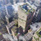 Øverst: Virksomheden Sumitomo Forestry vil markere sit 350-årsjubilæum med en bygning, der skal være netop 350 meter høj. Den er udtænkt i samarbejde med den japanske tegnestue Nikken Sekkei og kommer til at stå i Tokyo. Og så bliver den – som det ser ud i dag – verdens højeste bygning i træ. Den skønnes dog først at stå klar i 2041.