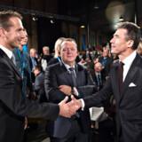 Venstre vil anført af statsminister Lars Løkke Rasmussen (V) og finansminister Kristian Jensen (V) gå til valg på skattestoppet. Det blev i sin tid knæsat af fhv. Venstre-formand og statsminister Anders Fogh Rasmussen (til højre) og har vist sig at være en sejlivet, borgerlig idé.