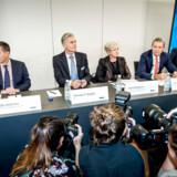På et pressemøde i september præsenterede partner i advokatfirmaet Bruun & Hjejle Ole Spiermann (yderst th.) en rapport om hvidvaskskandalen i Danske Bank. Arkivfoto: Asger Ladefoged