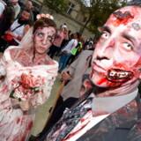 Deltagere i den årlige »Zombie walk« i Bordeaux, her i oktober 2017.