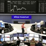 Den tyske børs i Frankurt. Den tyske økonomi har sænket farten, viser tal offentliggjort i denne uge.
