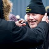 Kim Madsen, formand og stifter af »Jobcentrets Ofre«, bliver modtaget, efter han havde fået sin fremtid afgjort.